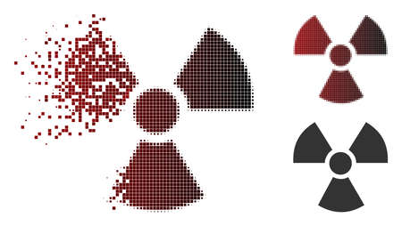 Radioactivity icon in sparkle, pixelated halftone and undamaged entire variants. Fragments are organized into vector dissolving radioactivity form. Illustration