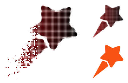 Starting star icon in sparkle, pixelated halftone and undamaged entire versions. Pixels are composed into vector sparkle starting star shape. Stock Illustratie