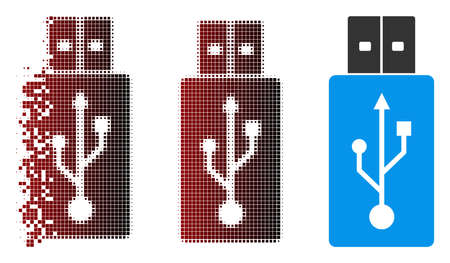 USB flash drive icon in fractured, dotted halftone and undamaged entire versions. Particles are organized into vector dissolving USB flash drive icon. Ilustrace