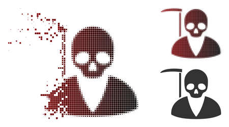 Scytheman icon in dispersed, pixelated halftone and undamaged solid versions. Cells are grouped into vector disappearing scytheman icon. Vectores