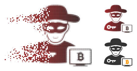 Bitcoin hacker icon with face in dispersed, dotted halftone and undamaged whole versions. Pieces are combined into vector disappearing Bitcoin hacker icon. Illustration