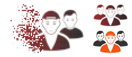 Boy friends icon with face in sparkle, pixelated halftone and undamaged entire versions. Fragments are composed into vector sparkle boy friends form.