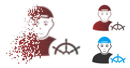 Captain icon with face in dispersed, pixelated halftone and undamaged solid versions. Pieces are arranged into vector sparkle captain form. 向量圖像