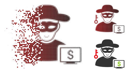 Computer thief icon with face in sparkle, dotted halftone and undamaged entire versions. Cells are grouped into vector sparkle computer thief symbol.