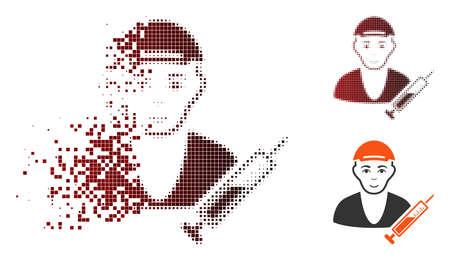 Drug dealer icon with face in dispersed, pixelated halftone and undamaged entire variants. Cells are arranged into vector dispersed drug dealer symbol. Ilustração