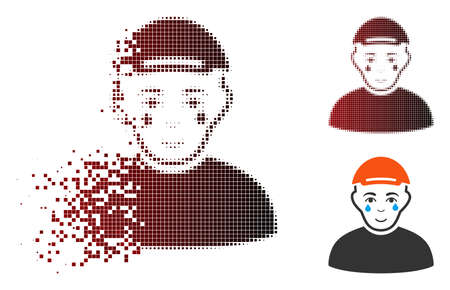Crying man icon with face in dispersed, dotted halftone and undamaged entire versions. Points are composed into vector dispersed crying man pictogram.