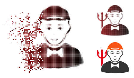 Daemon icon with face in fractured, pixelated halftone and undamaged whole variants. Elements are composed into vector disappearing daemon icon.