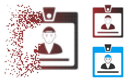 Guy access card icon with face in sparkle, pixelated halftone and undamaged whole variants. Cells are combined into vector sparkle guy access card icon. 向量圖像
