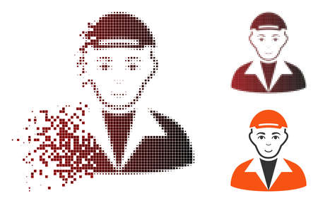 Guy icon with face in dispersed, pixelated halftone and undamaged whole versions. Pixels are arranged into vector dispersed guy symbol.