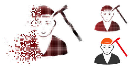 Hammer victim icon with face in dispersed, dotted halftone and undamaged solid versions. Elements are composed into vector dispersed hammer victim form.