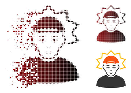 Inventor icon with face in dispersed, pixelated halftone and undamaged solid versions. Pixels are combined into vector dispersed inventor icon.