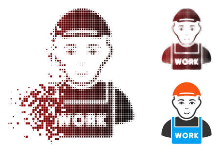 Jobless icon with face in dispersed, dotted halftone and undamaged entire variants. Elements are organized into vector dispersed jobless shape.