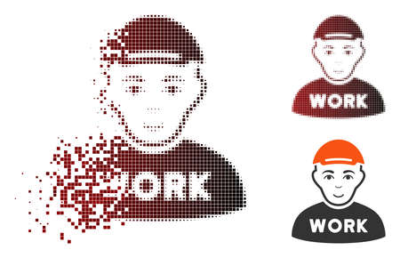 Jobless icon with face in sparkle, dotted halftone and undamaged entire variants. Elements are organized into vector sparkle jobless figure.