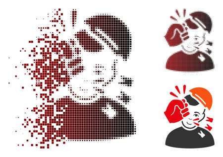 Kickboxer icon with face in dissolved, dotted halftone and undamaged solid versions. Points are organized into vector dispersed kickboxer icon. Illustration