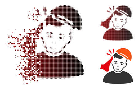 Kickboxer victim icon with face in fractured, dotted halftone and undamaged whole variants. Pixels are arranged into vector dispersed kickboxer victim pictogram. Illustration