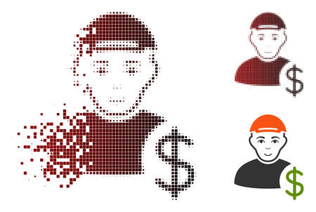 Loan user icon with face in fractured, dotted halftone and undamaged solid variants. Points are organized into vector disappearing loan user symbol. Illustration