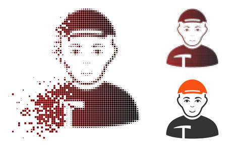 Miner icon with face in dissolved, dotted halftone and undamaged whole variants. Points are combined into vector disappearing miner icon. Иллюстрация
