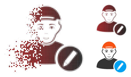 Modify user icon with face in dispersed, dotted halftone and undamaged solid versions. Cells are combined into vector dispersed modify user pictogram. Ilustração