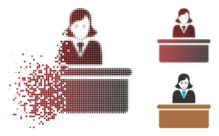 Official lady icon with face in dissolved, pixelated halftone and undamaged whole versions. Pixels are arranged into vector disappearing official lady form. Stockfoto - 111682044