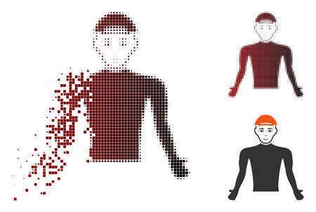 Man body icon with face in dissolved, dotted halftone and undamaged solid versions. Particles are composed into vector disappearing man body icon. Illustration