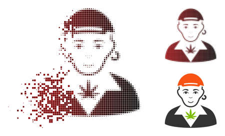 Marihuana dealer icon with face in sparkle, pixelated halftone and undamaged entire versions. Particles are grouped into vector dissipated marihuana dealer icon. Illustration