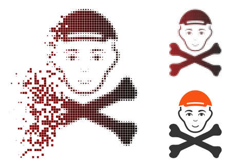Mortal boy head icon with face in fractured, dotted halftone and undamaged whole variants. Pixels are grouped into vector dissolving mortal boy head icon. Ilustrace