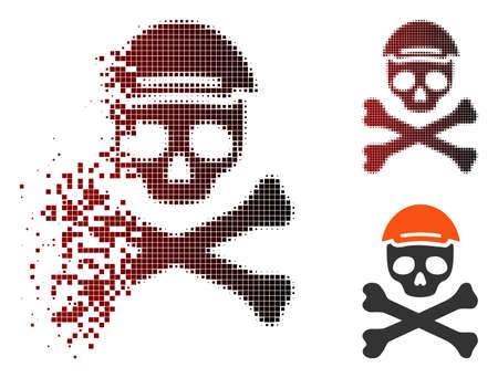 Mortal skull icon with face in fractured, dotted halftone and undamaged entire versions. Pixels are arranged into vector disappearing mortal skull icon.