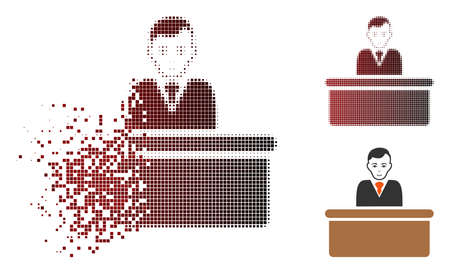 Office clerk icon with face in sparkle, dotted halftone and undamaged entire variants. Particles are combined into vector sparkle office clerk icon. Illustration