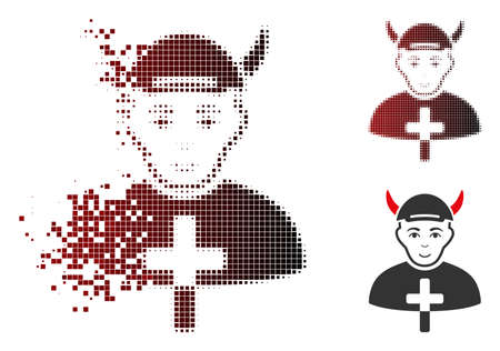 Priest devil icon with face in sparkle, dotted halftone and undamaged solid variants. Points are arranged into vector dissolving priest devil icon.