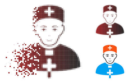 Priest doctor icon with face in dispersed, pixelated halftone and undamaged entire variants. Points are grouped into vector dispersed priest doctor form.