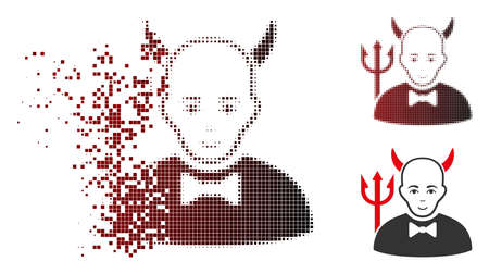 Satan icon with face in dissolved, pixelated halftone and undamaged whole variants. Pieces are organized into vector disappearing satan icon.