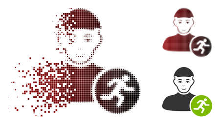 Running man icon with face in dispersed, pixelated halftone and undamaged entire versions. Pieces are grouped into vector sparkle running man icon.