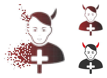 Satan priest icon with face in fractured, dotted halftone and undamaged solid variants. Particles are combined into vector disappearing satan priest symbol.