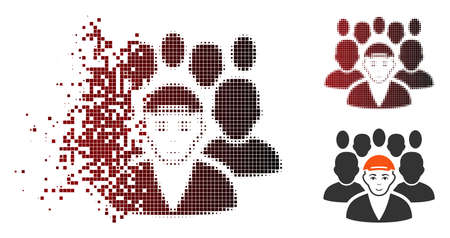 Staff leader icon with face in fractured, dotted halftone and undamaged entire versions. Points are grouped into vector disappearing staff leader icon.