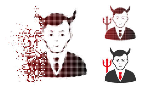 Satan icon with face in dispersed, pixelated halftone and undamaged solid variants. Pixels are arranged into vector dispersed satan icon.