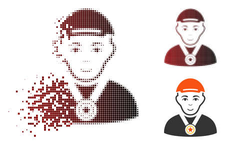 Winner icon with face in fractured, dotted halftone and undamaged whole variants. Cells are arranged into vector disappearing winner icon. Zdjęcie Seryjne - 111628697