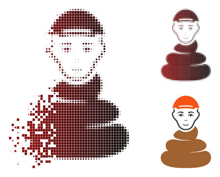 Shit boy icon with face in dissolved, dotted halftone and undamaged solid variants. Fragments are arranged into vector disappearing shit boy icon.