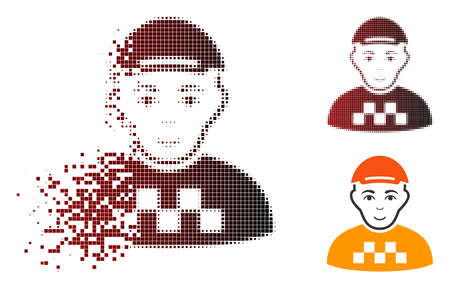 Taxi driver icon with face in dissolved, dotted halftone and undamaged solid variants. Particles are grouped into vector disappearing taxi driver icon. Zdjęcie Seryjne - 111628717