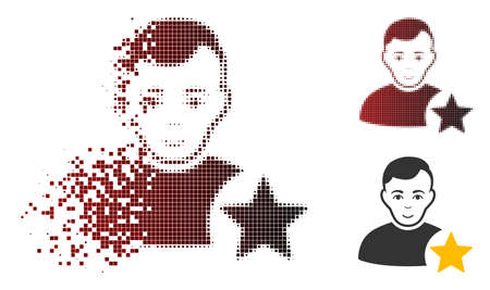 User rating star icon with face in dispersed, dotted halftone and undamaged solid variants. Particles are organized into vector dispersed user rating star icon. Illustration