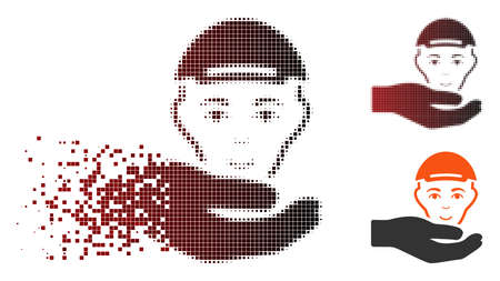 User support hand icon with face in sparkle, pixelated halftone and undamaged entire versions. Particles are composed into vector sparkle user support hand icon.