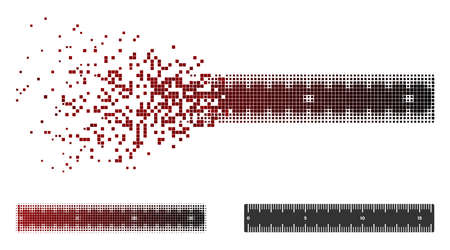 Horizontal meter ruler icon in dissolved, dotted halftone and undamaged solid versions. Particles are arranged into vector sparkle horizontal meter ruler symbol.