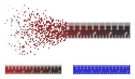 Inch and centimeter ruler icon in dispersed, dotted halftone and undamaged solid variants. Fragments are grouped into vector dispersed inch and centimeter ruler figure.
