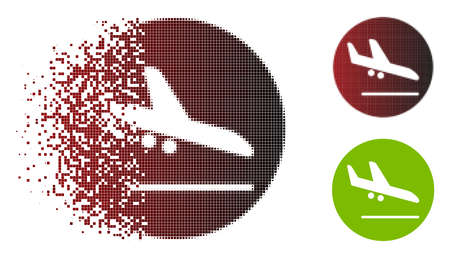 Valid airplane landing icon in dispersed, pixelated halftone and undamaged whole variants. Cells are composed into vector disappearing valid airplane landing icon.