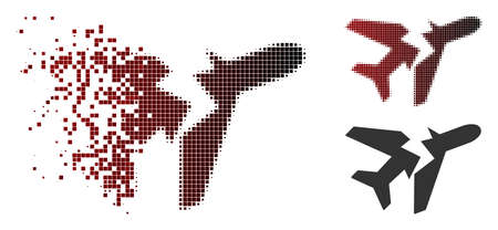 Break airplane icon in sparkle, pixelated halftone and undamaged solid variants. Cells are organized into vector sparkle break airplane icon.