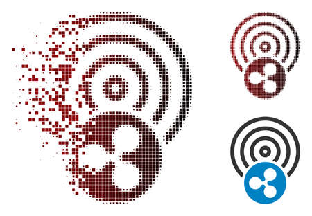Ripple airdrop icon in dispersed, dotted halftone and undamaged entire variants. Particles are combined into vector disappearing Ripple airdrop icon.