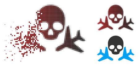 Mortal airplanes icon in dispersed, pixelated halftone and undamaged whole variants. Cells are composed into vector dispersed mortal airplanes figure.