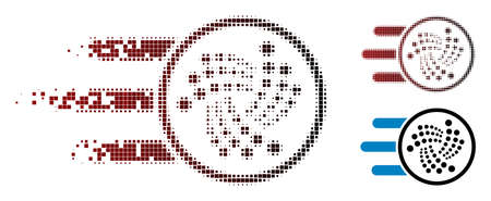 Send Iota icon in dispersed, dotted halftone and undamaged whole variants. Particles are arranged into vector dispersed send Iota icon.
