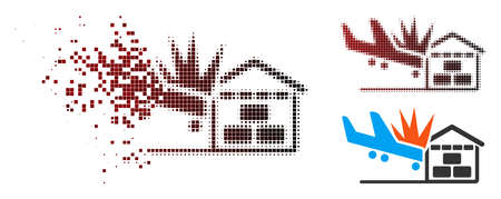 Airplane hangar crash icon in dispersed, pixelated halftone and undamaged solid versions. Cells are composed into vector sparkle airplane hangar crash icon.