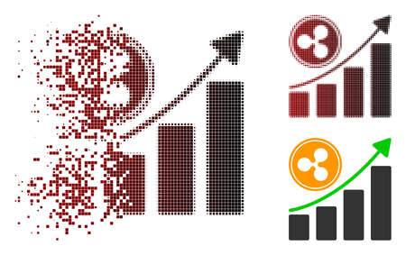 Ripple growing chart icon in dispersed, pixelated halftone and undamaged solid versions. Points are arranged into vector dispersed Ripple growing chart icon. Ilustração