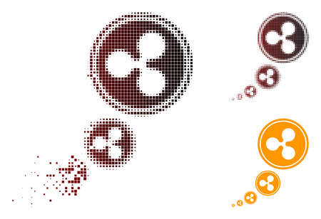Ripple inflation icon in dispersed, pixelated halftone and undamaged solid versions. Points are arranged into vector dispersed Ripple inflation pictogram. Ilustração